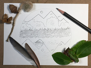 how to draw an easy mountain scene - step 4