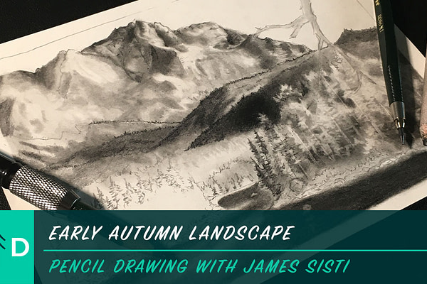 early autumn landscape drawing pencil